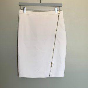 J. Crew ivory asymmetrical zipper pencil skirt 6
